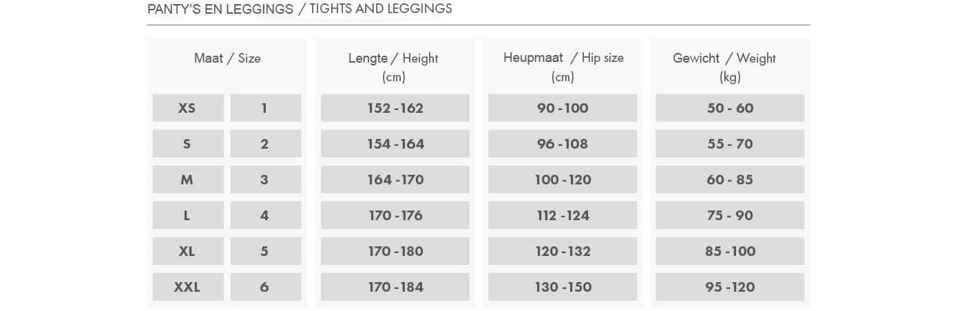Maattabel Fiore Panty en Leggings