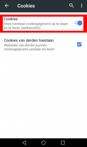 Android chrome cookie instellingen