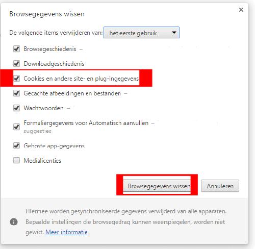 Chrome browsegegevens wissen knop