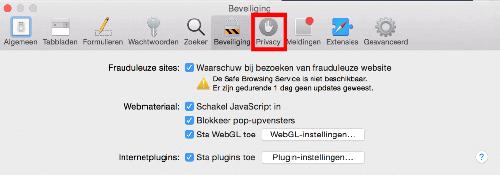 Safari privacy kiezen