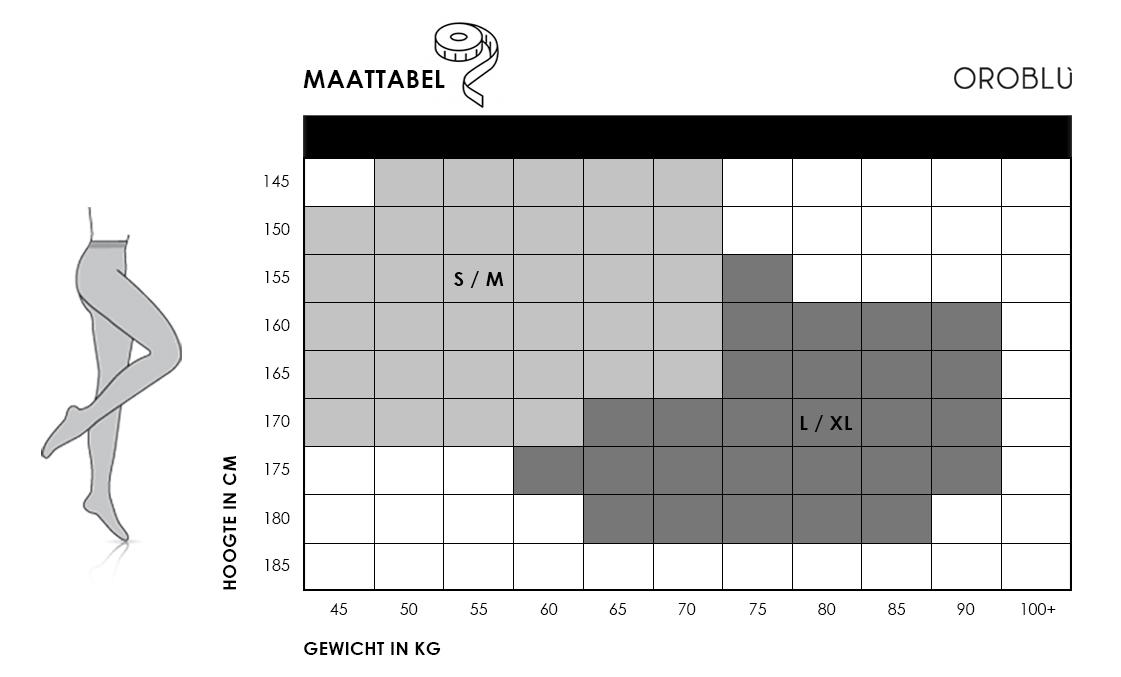 Maattabel Oroblu s-maxi